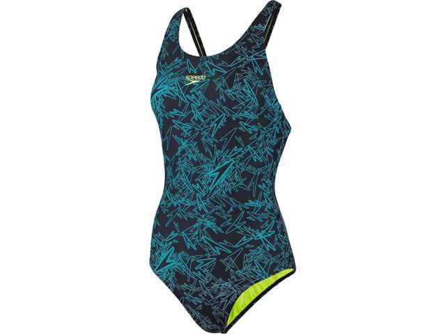 speedo Boom Allover Muscleback Swimsuit Dame navy/aquasplash/bright zest